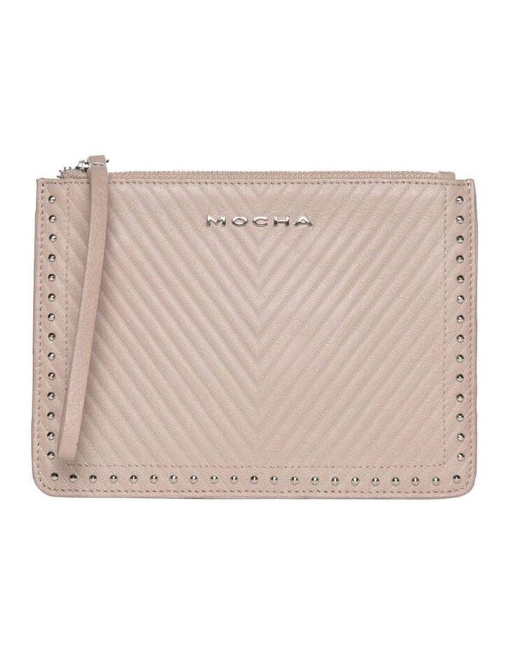 Chevron Stud Leather Clutch - Taupe image 1