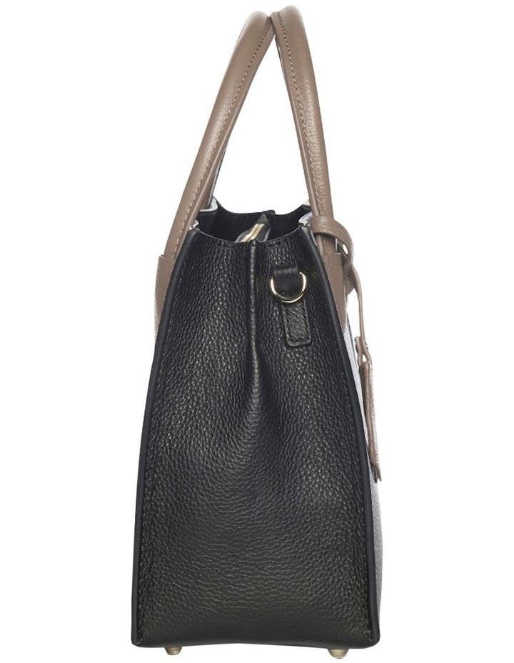Contrast Minnie Leather Tote - Black/Taupe image 3