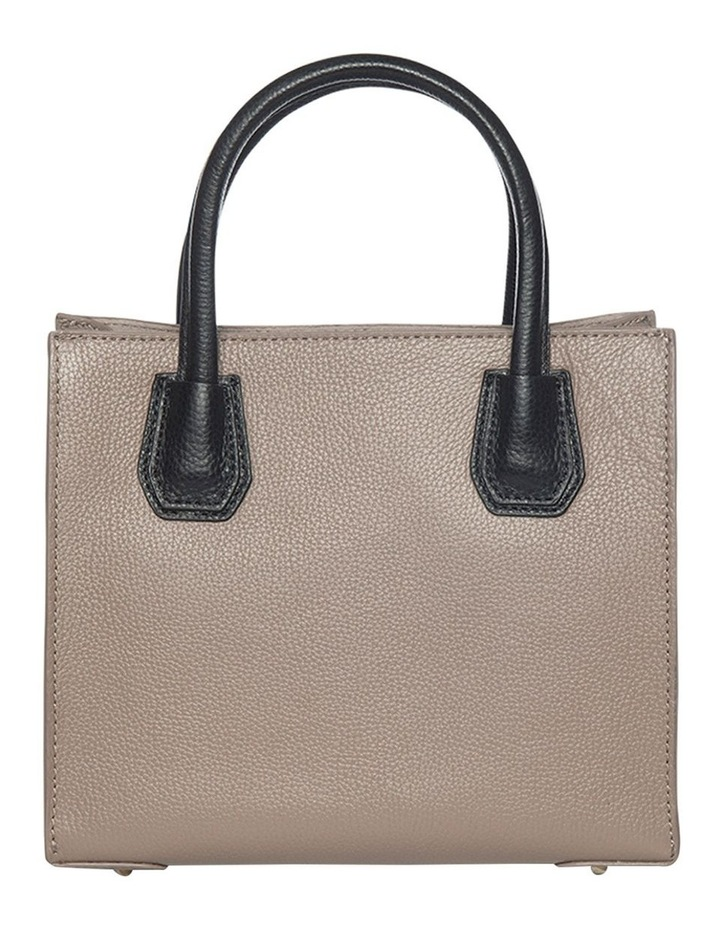 Contrast Minnie Leather Tote - Taupe/Black image 1