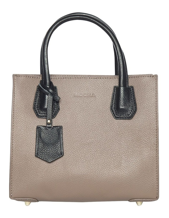 Contrast Minnie Leather Tote - Taupe/Black image 2