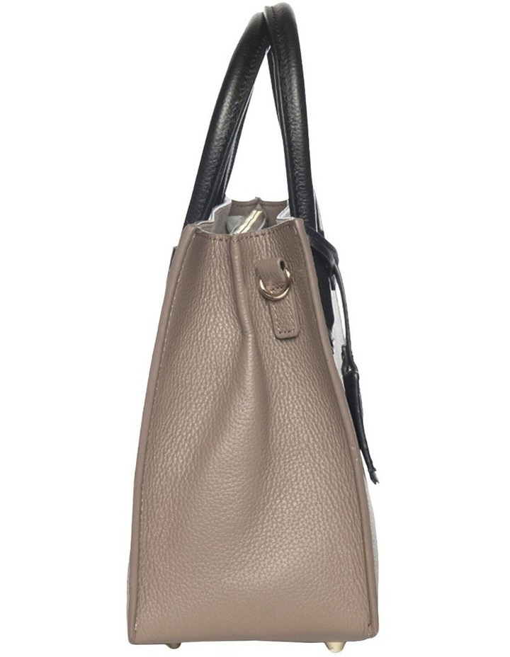 Contrast Minnie Leather Tote - Taupe/Black image 3