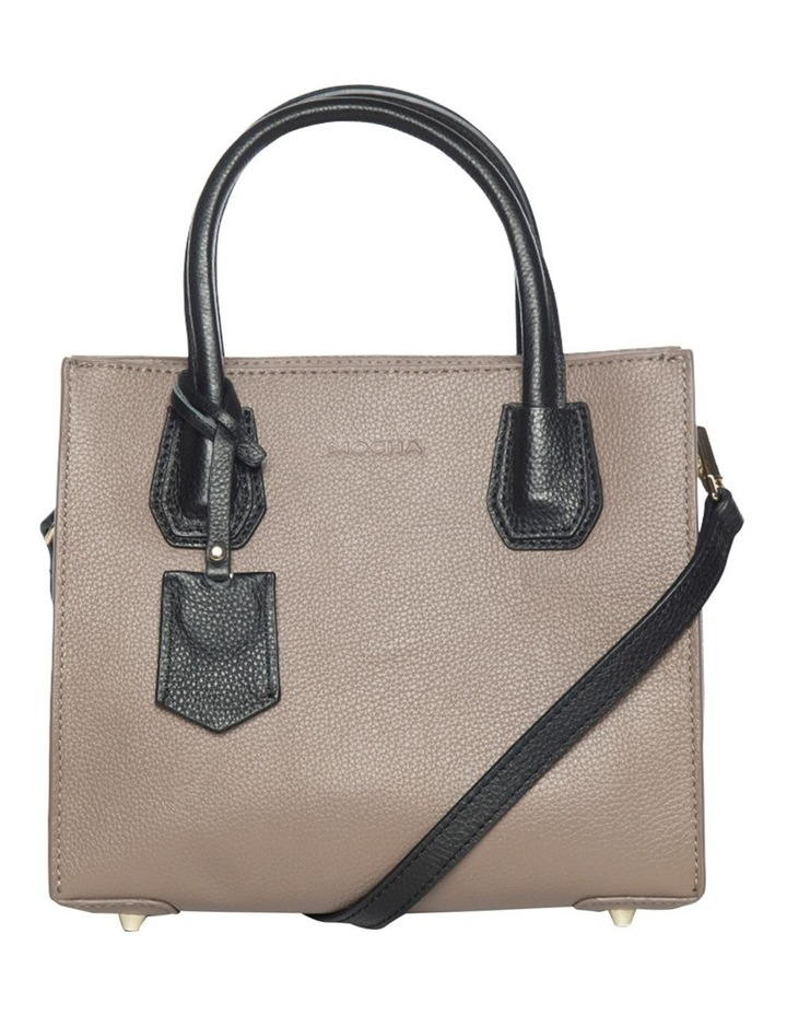 Contrast Minnie Leather Tote - Taupe/Black image 4