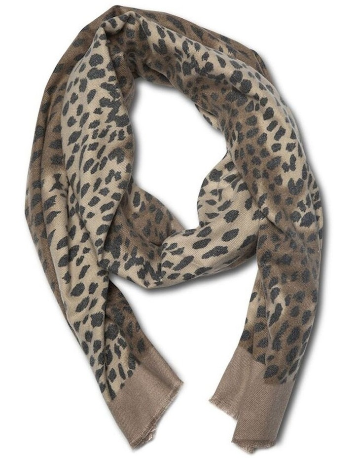Leopard Print Frame Scarf - Tan image 1