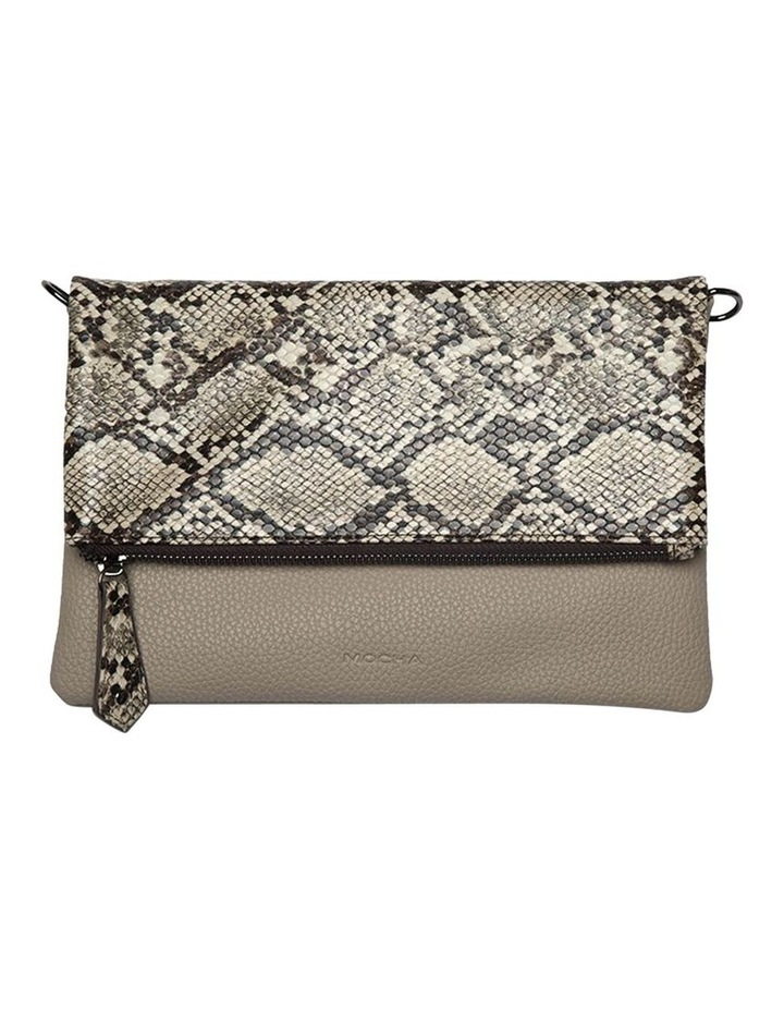 Snake Embossed Foldover Flap Clutch-Taupe image 1