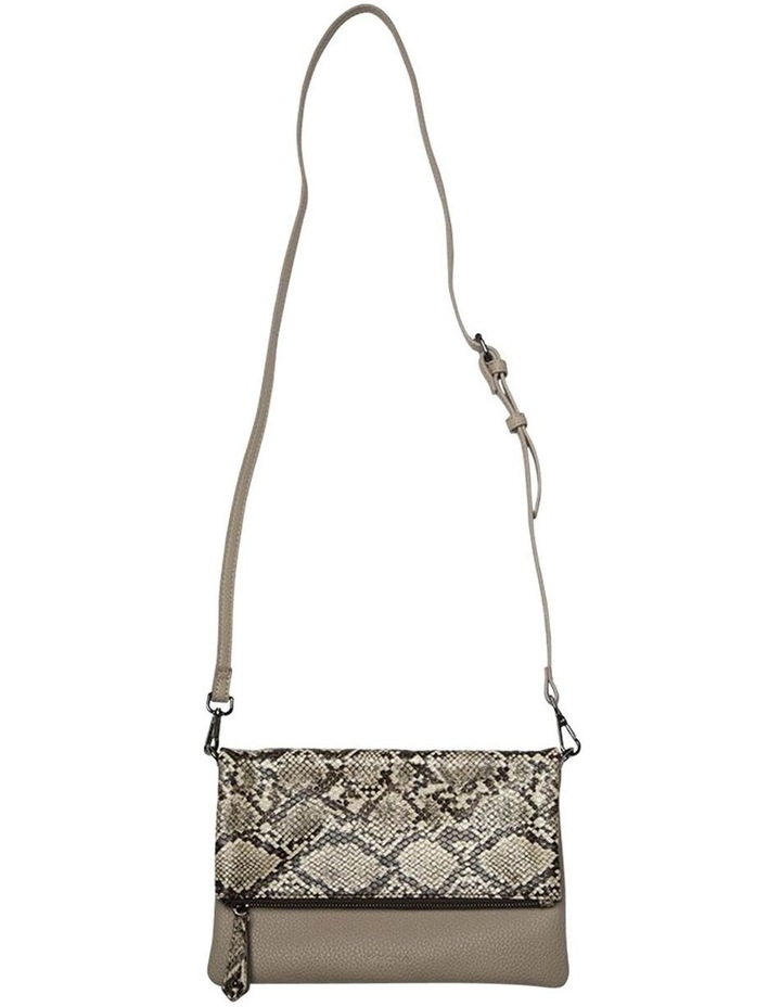 Snake Embossed Foldover Flap Clutch-Taupe image 2