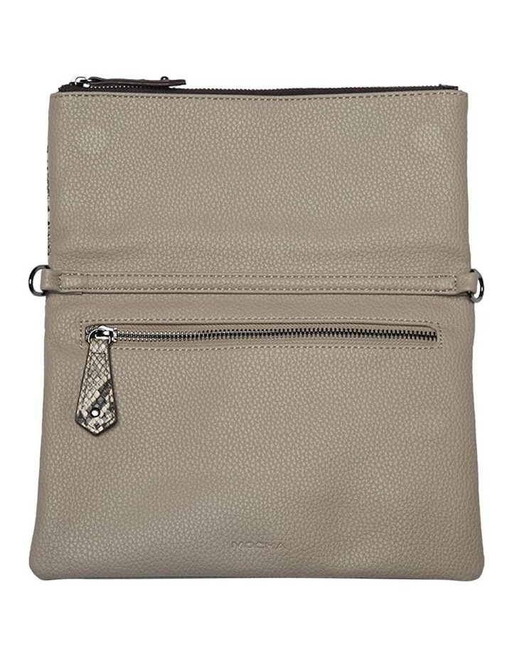 Snake Embossed Foldover Flap Clutch-Taupe image 3