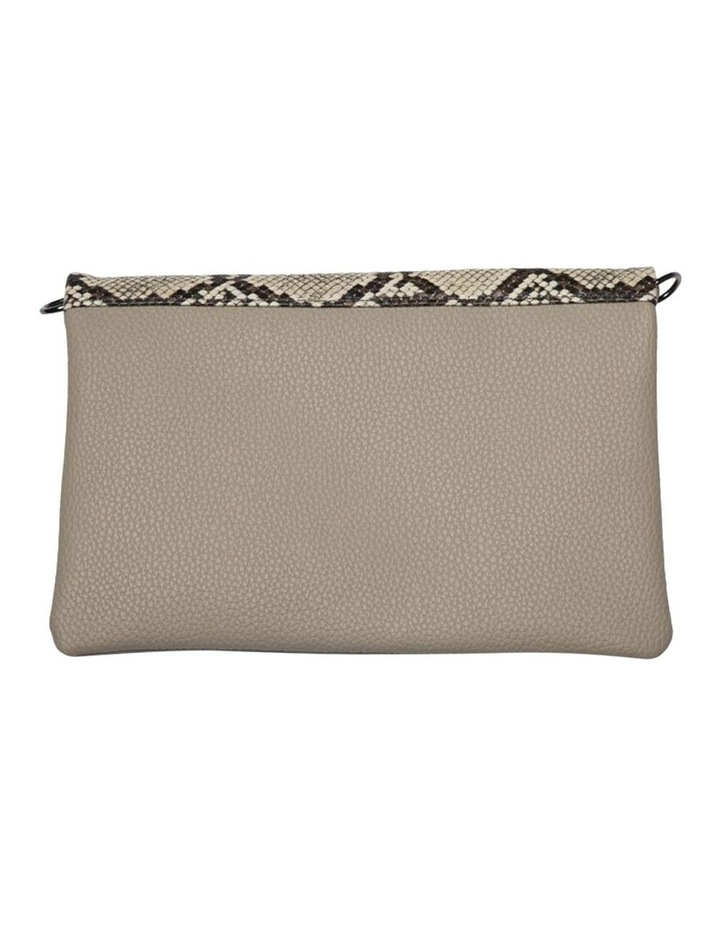Snake Embossed Foldover Flap Clutch-Taupe image 4