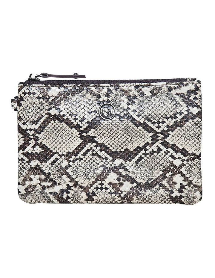 Snake Embossed Coin Wallet-Taupe image 1