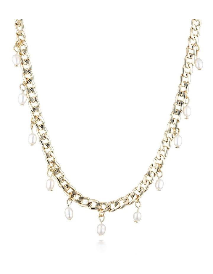 Drop Chain Short Necklace - Pearl/Gold image 1