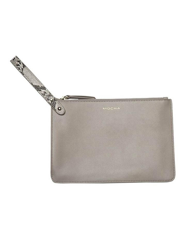Cara Snake Embossed Leather Clutch - Grey image 2