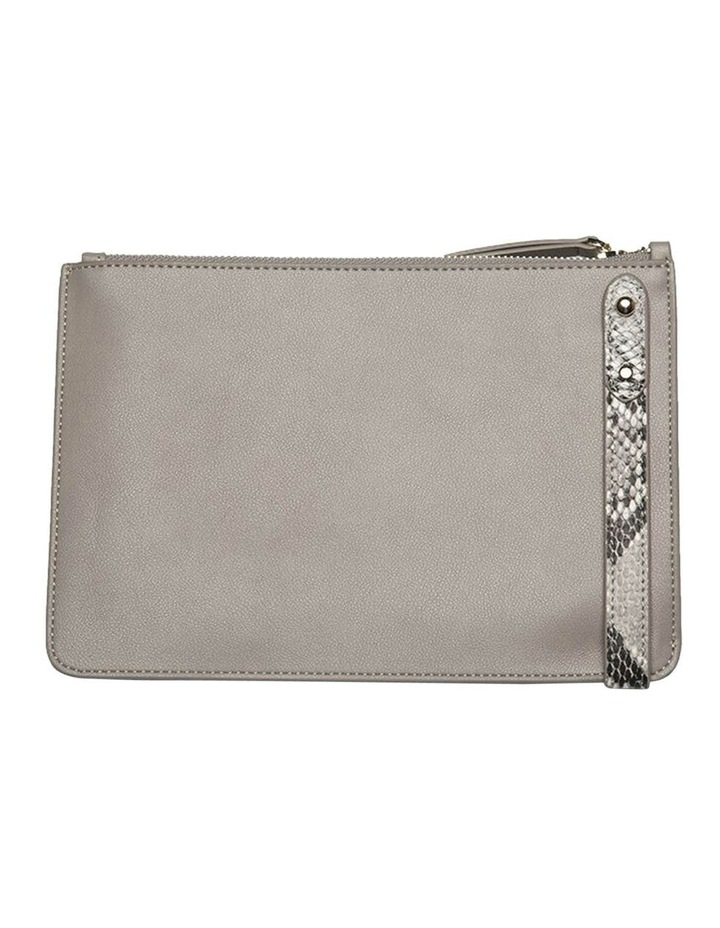 Cara Snake Embossed Leather Clutch - Grey image 4
