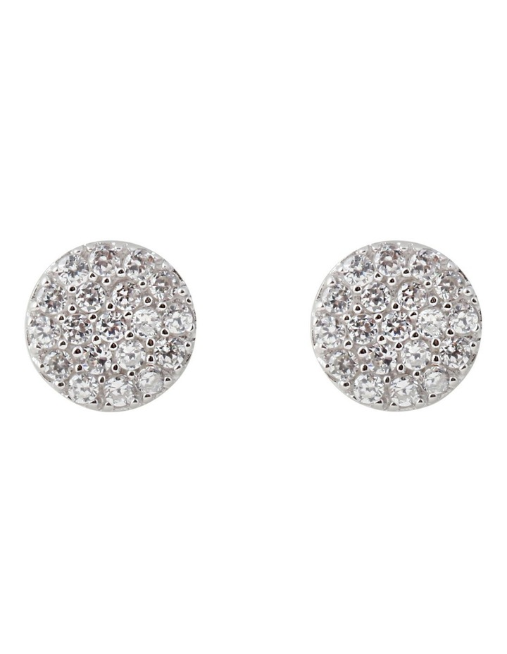 Briller Pave Disc Sterling Silver Earrings - Silver image 1