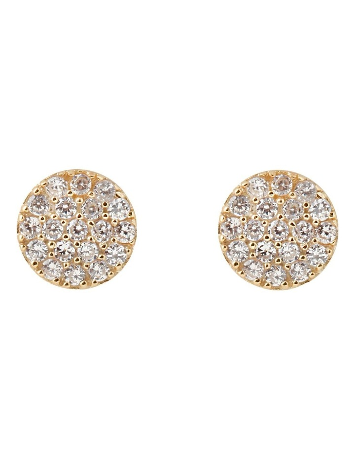 Briller Pave Disc Sterling Silver Earrings - Gold image 1