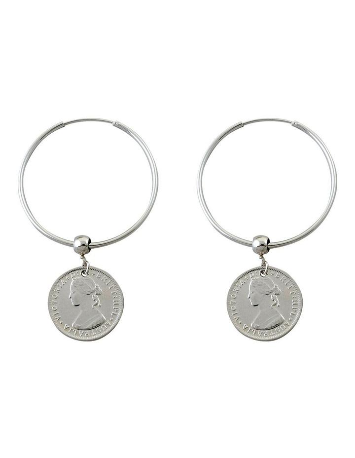 Hoop Earrings w/ Australian Token Coin - Silver image 1