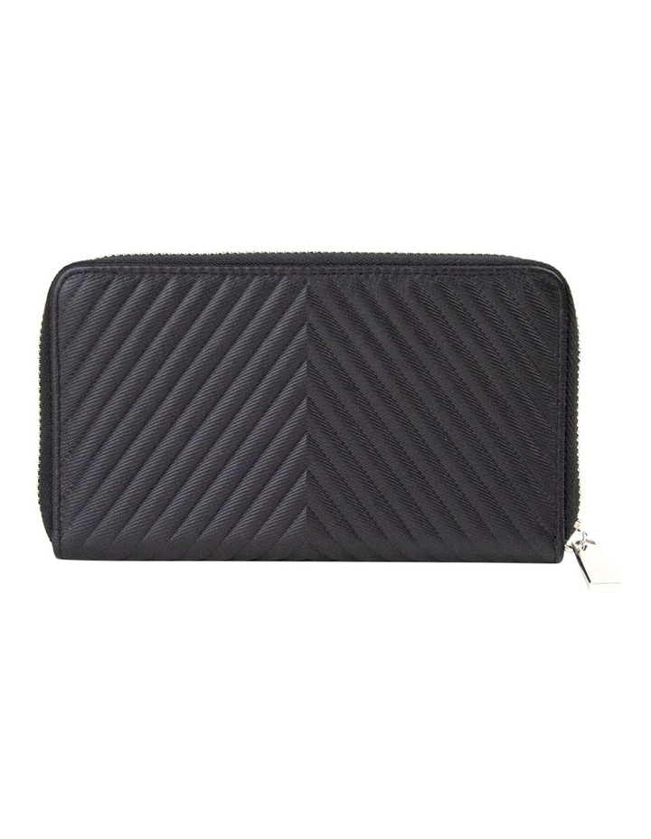 Small Chevron Leather Wallet - Black/Silver image 2