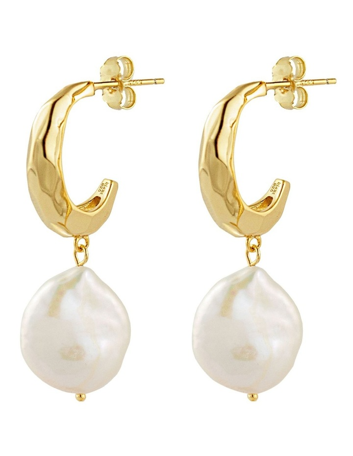 Titan Earrings w/ Freshwater Pearls - Gold image 1