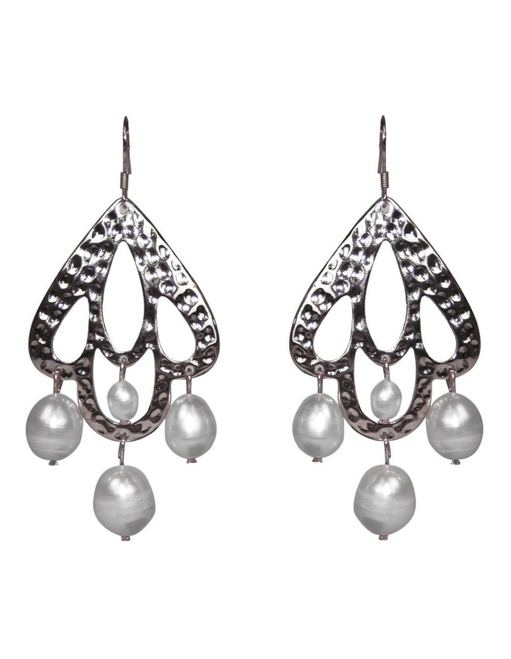 Palm Spring Hammered Pearl Drop Earrings - Silver image 1
