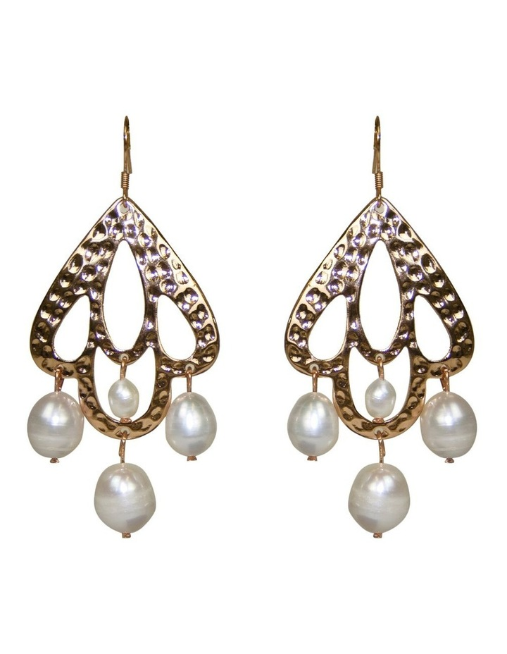 Palm Spring Hammered Pearl Drop Earrings - Light Gold image 1