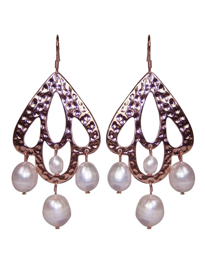 Palm Spring Hammered Pearl Drop Earrings - Rose Gold image 1