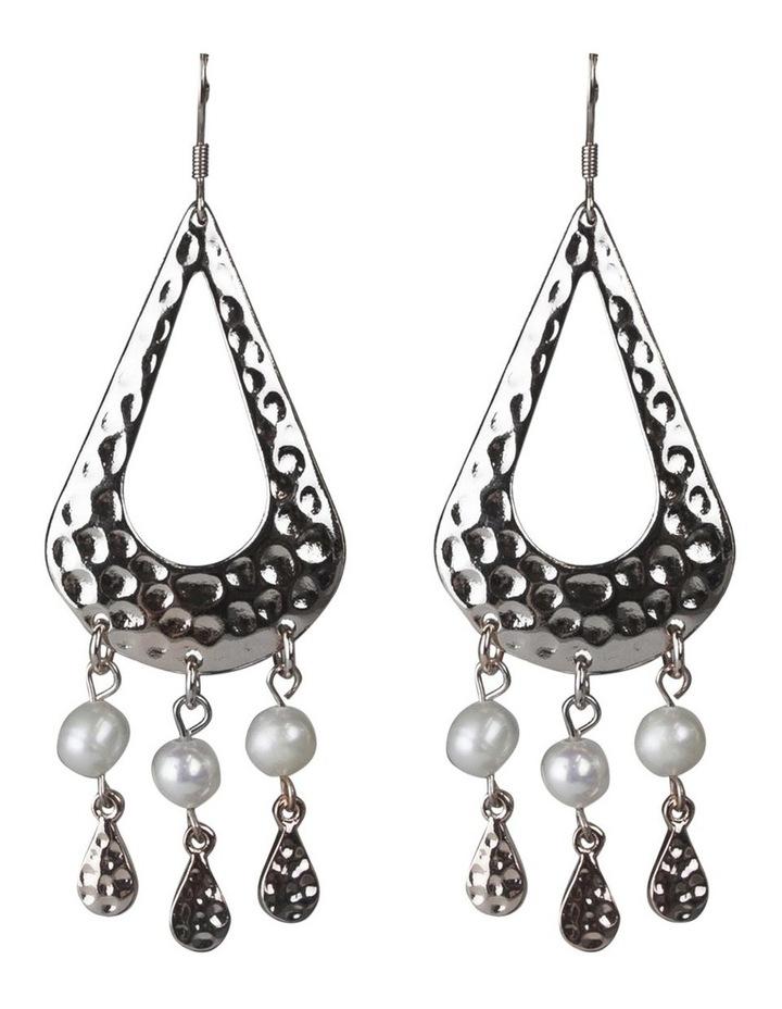 Palm Spring Pearl Drop Earrings - Silver image 1