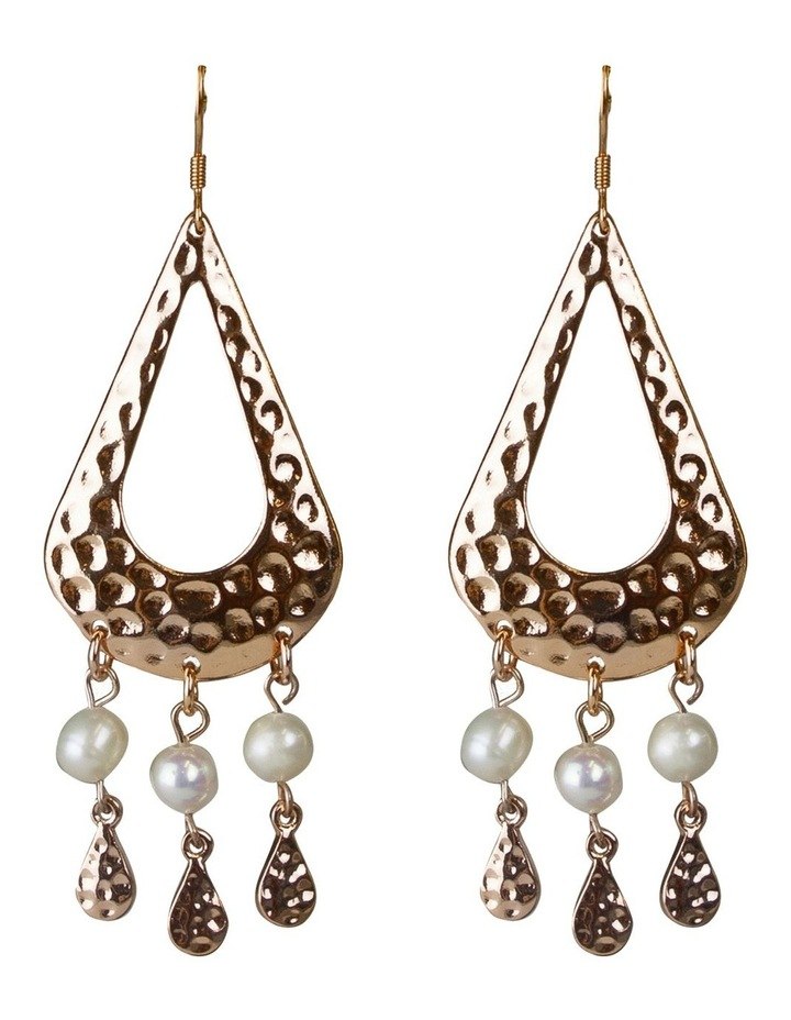 Palm Spring Pearl Drop Earrings - Light Gold image 1