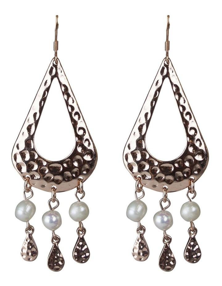 Palm Spring Pearl Drop Earrings - Light Gold image 2