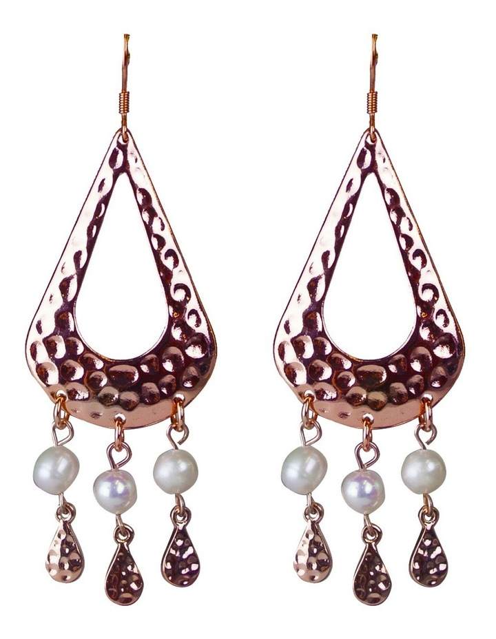 Palm Spring Pearl Drop Earrings - Rose Gold image 1