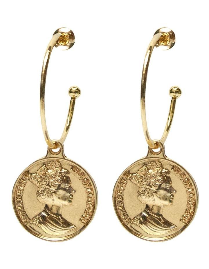 Coin Hoop Earrings - Light Gold image 1