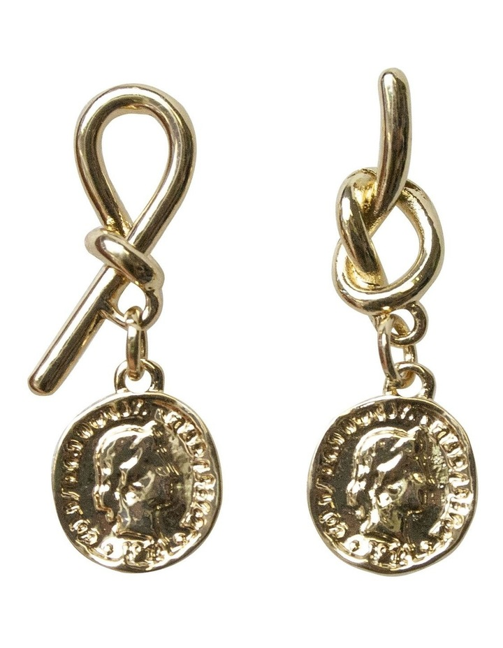 Knot Earrings w/ Coin - Light Gold image 1