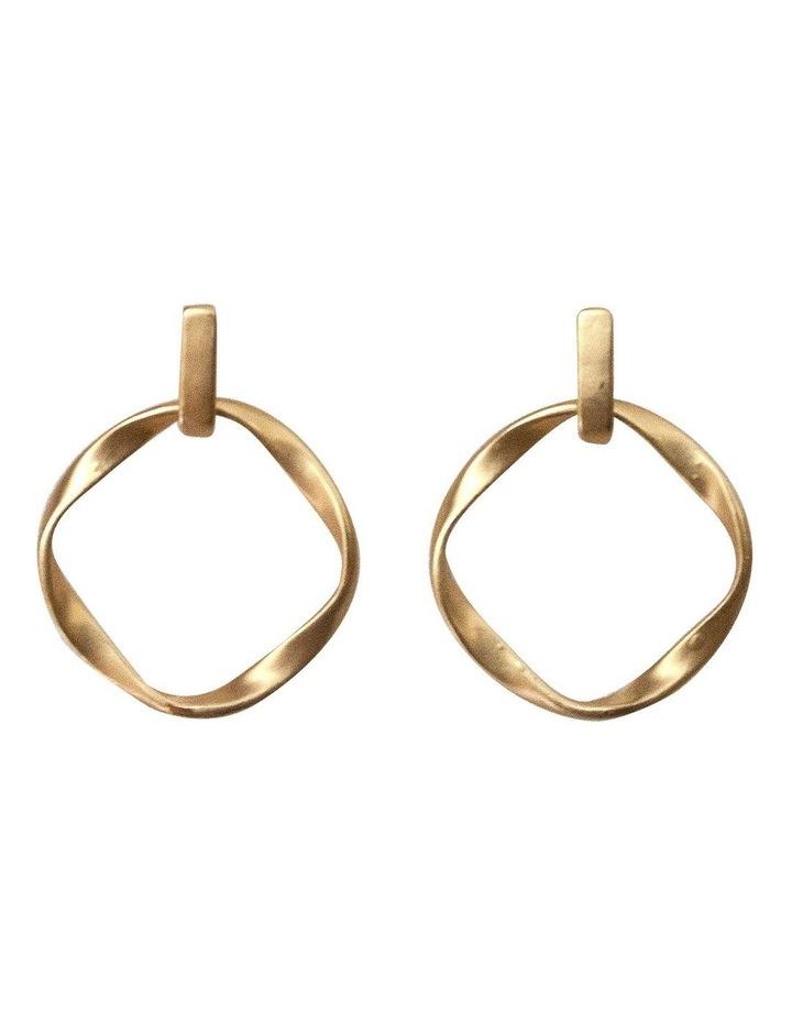 Irregular Round Earrings - Light Gold image 1