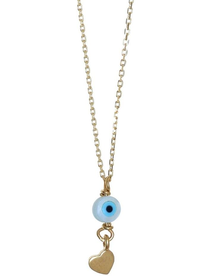 Tiny Shiny Necklace w/ Evil Eye & Heart - Gold image 1