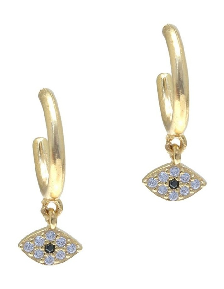 Tiny Shiny Evil Eye Earrings w/ Zirconia - Gold image 1