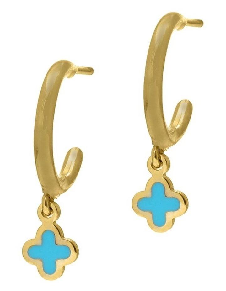 Tiny Shiny Earrings w/ Enamel Clover - Gold image 1