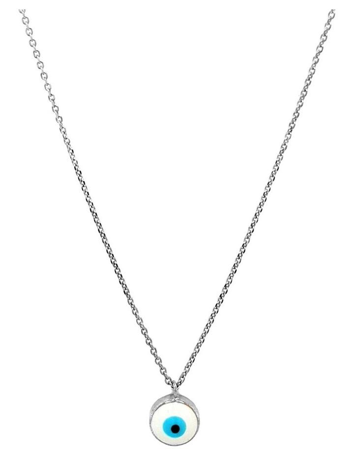 Lucky Day Necklace w/ Enamel Evil Eye - Silver image 1