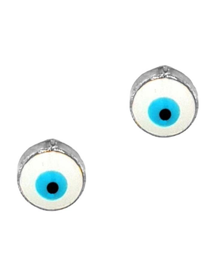 Lucky Day Stud Earrings w/ Enamel Evil Eye - Silver image 1