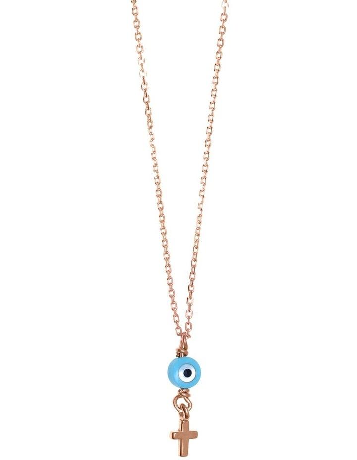 Tiny Shiny Necklace w/ Evil Eye & Cross - Rose Gold image 1