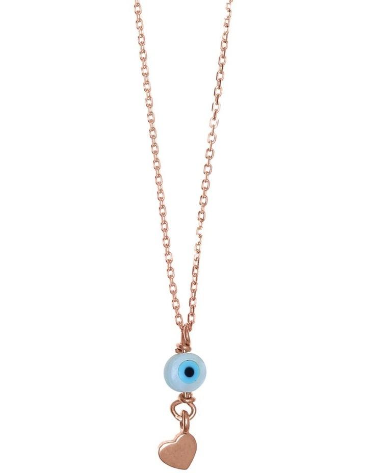 Tiny Shiny Necklace w/ Evil Eye & Heart - Rose Gold image 1