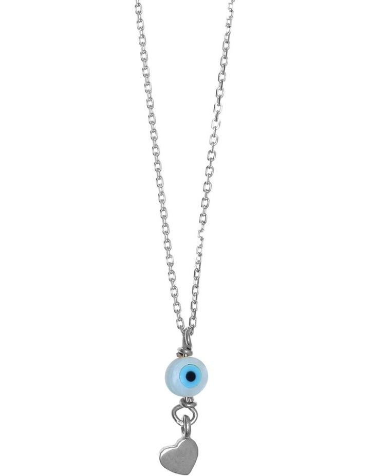 Tiny Shiny Necklace w/ Evil Eye & Heart - Silver image 1
