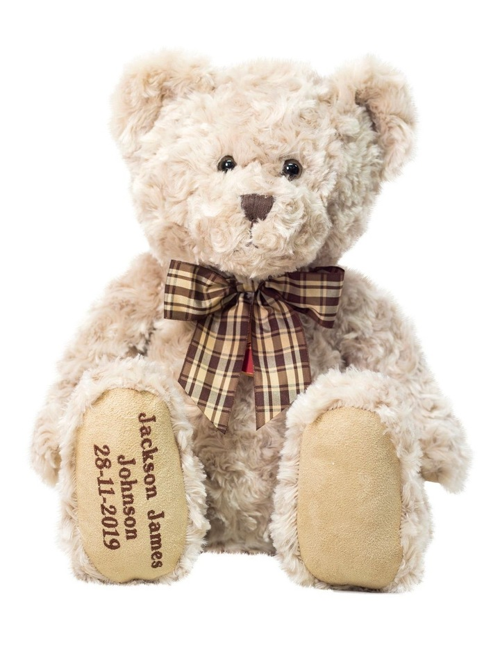 TRADITIONAL MY BIRTHDAY TEDDY WITH CHECKED RIBBON image 1