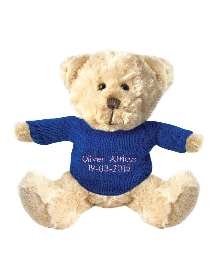 Personalised Beige Bear With Dark Blue Knitted Jumper image 1