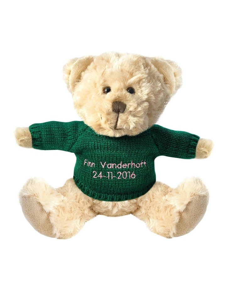 Personalised Beige Bear With Dark Green Knitted Jumper image 1