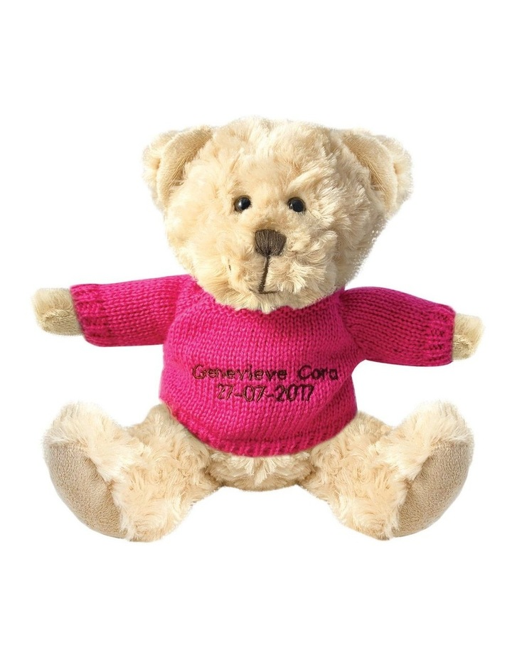 Personalised Beige Bear With Hot Pink Knitted Jumper image 1