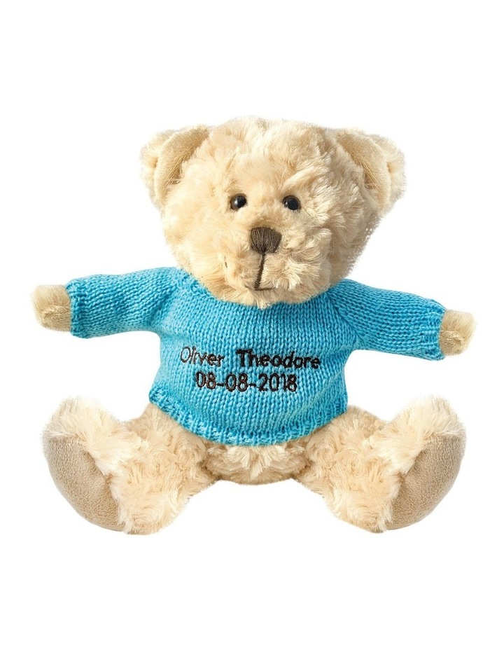 Personalised Beige Bear With Light Blue Knitted Jumper image 1