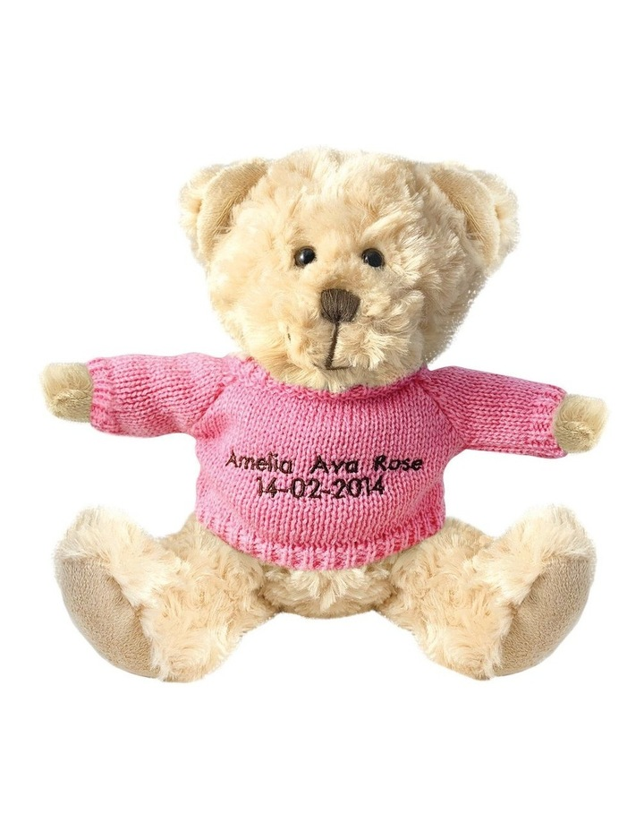 Personalised Beige Bear With Pink Knitted Jumper image 1