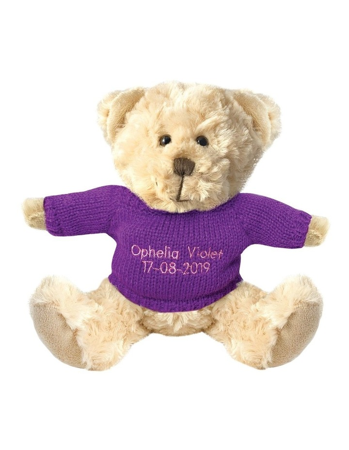 Personalised Beige Bear With Purple Knitted Jumper image 1