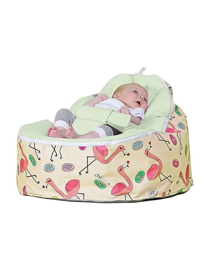 Flamingo Snuggle Pod Baby Bean Bag - Lime image 2