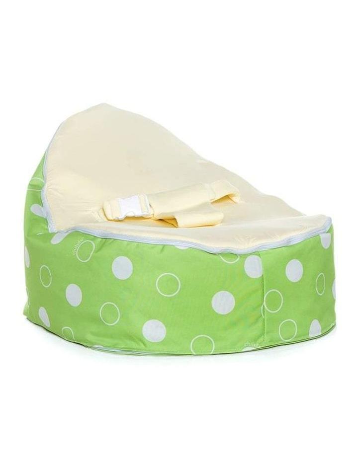 Green Polka Snuggle Pod Baby Bean Bag Cream image 1