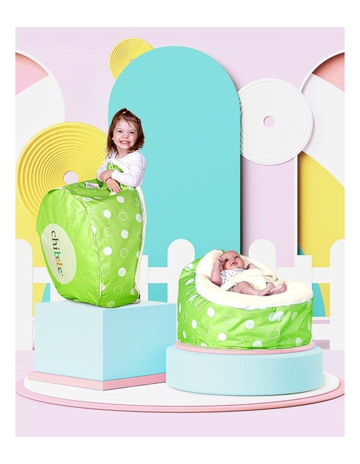 Green Polka Snuggle Pod Baby Bean Bag Cream image 2