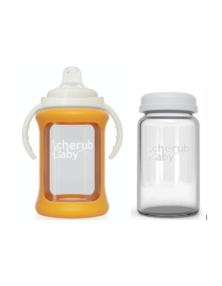 Wide Neck Glass Sippy Cup With Colour Change Sleeve 240ml - Orange (With Bonus Bottle) image 1