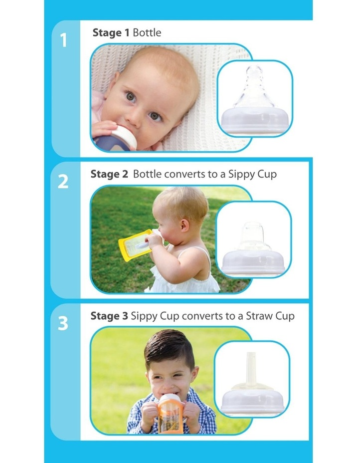 Wide Neck Glass Sippy Cup With Colour Change Sleeve 240ml - Orange (With Bonus Bottle) image 3